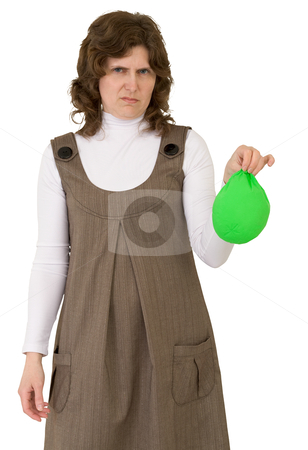 Young woman with blow off balloon stock photo, Young woman with blow off green balloon by Alexey Romanov