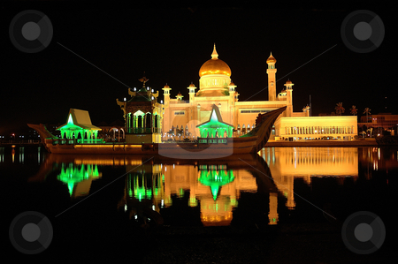 Omar ali masjid stock photo, omar ali saifuddin mosque in brunei darusalam at night by Bayu Harsa