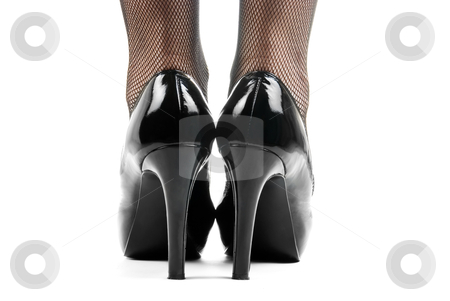 Black shoes stock photo, Close up of woman leg in black shoes. Back view. by olinchuk