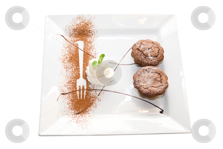 Tasty chocolate desserts dish stock photo, Tasty chocolate desserts dish isolated on white background by olinchuk