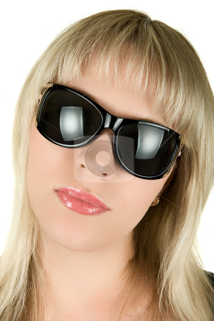 Blond woman in sunglasses stock photo, closeup portrait of blond woman in sunglasses on white background by olinchuk