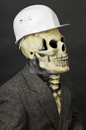 Deadly construction superintendent in helmet stock photo, The deadly construction superintendent in a white protective helmet by Alexey Romanov