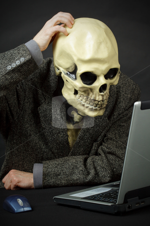 Monster thinks like him to enter internet stock photo, Monster - skeleton thinks like him to enter the internet by Alexey Romanov