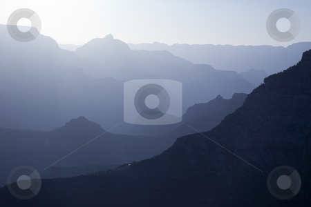 Scenic Layers of the Grand Canyon stock photo, Scenic Layers of the Grand Canyon in the Early Morning with Hikers Cabin Roof Shining in the Lower Middle. by Andy Dean