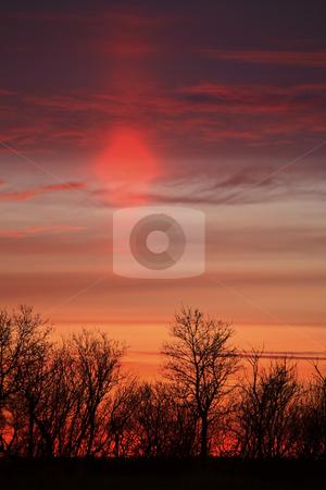 Sun flare seen just after sunrise stock photo, Sun flare seen just after sunrise by Mark Duffy