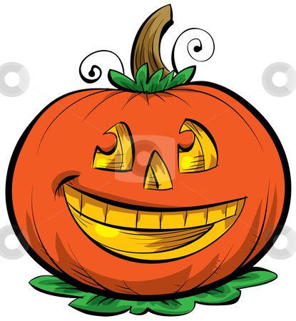 Cartoon Jack o' Lantern stock photo, A smiling, cartoon Jack o' Lantern. by Brett Lamb
