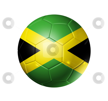Soccer football ball with Jamaica flag stock photo