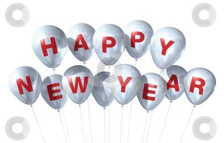 Happy new year balloons stock photo, white Happy new year balloons isolated on white by Laurent Davoust