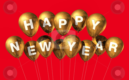 Gold happy new year balloons stock photo, gold Happy new year balloons isolated on red by Laurent Davoust