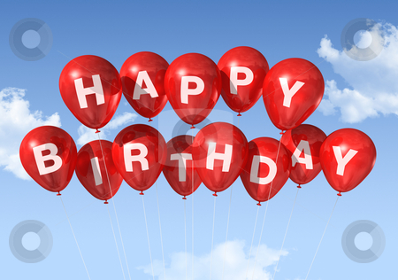 Red Happy Birthday balloons in the sky stock photo, 3D red Happy Birthday balloons in the sky by Laurent Davoust