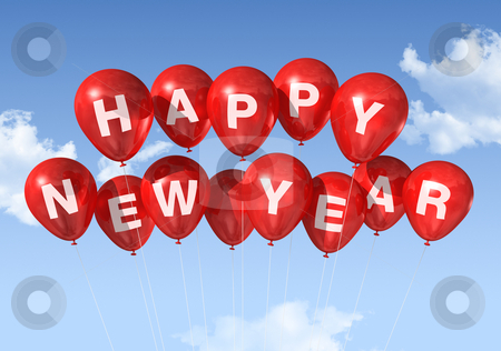 Happy new year balloons stock photo, red Happy new year balloons isolated on a blue sky by Laurent Davoust
