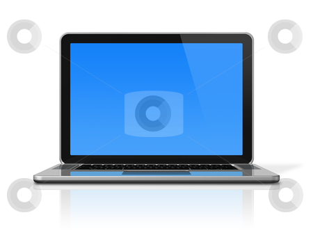 Laptop computer isolated on white stock photo, 3D laptop computer isolated on white with 2 clipping path : one for global scene and one for the screen by Laurent Davoust