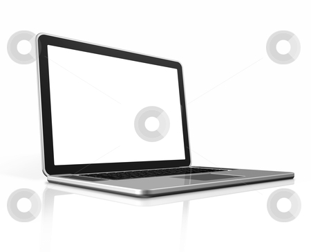 Laptop computer isolated on white stock photo, 3D blank laptop computer isolated on white with clipping path by Laurent Davoust