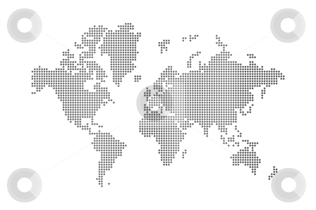 Dots world map stock photo, dots world map on white background by Laurent Davoust
