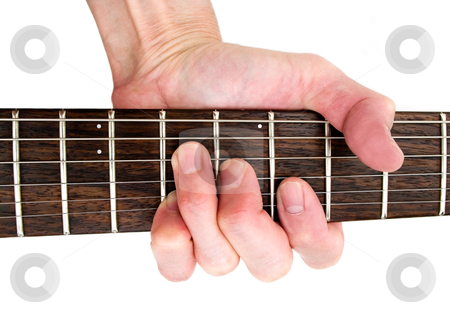 Guitar music instrument stock photo, hand playing guitar chord on rosewood fretboard of  music instrument. by JOSEPH S.L. TAN MATT