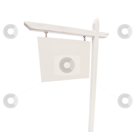 Blank Real Estate Sign on White stock photo, Blank Real Estate Sign Isolated on a White Background. by Andy Dean
