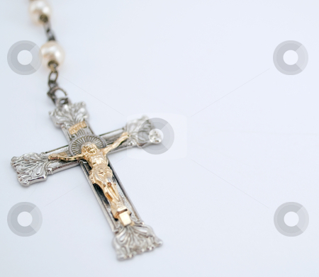 Rosary stock photo, Close up shot of a rosary with negative space for text by Michael T