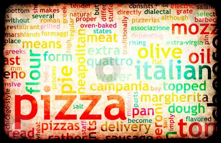 Pizza stock photo, Pizza Menu as Concept Background with Toppings by Kheng Ho Toh