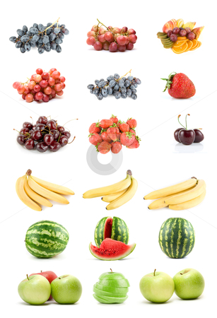 Set of fruits and vegetables stock photo, Set of fruits and vegetables isolated on white background  by olinchuk