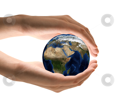 Take care the earth stock photo, Take care the earth concept. Human hand holding the world in hands.  by olinchuk