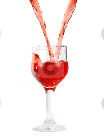 Red wine stock photo, pouring red wine in goblets isolated on white by olinchuk