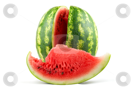 Ripe Watermelon stock photo, Ripe Watermelon isolated on white background by olinchuk