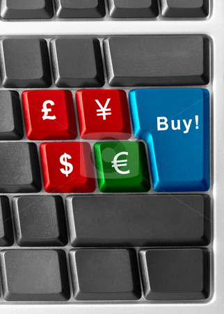 Currency buying stock photo, computer keyboard with currency buttons by olinchuk