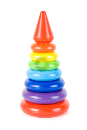 Plastic toy pyramid stock photo, Plastic toy pyramid on a white background by olinchuk