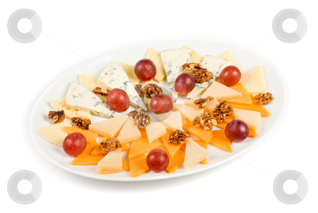 Cheese stock photo, different cheese with grapes isolated on a white by olinchuk