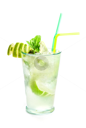 Fresh mojito stock photo, Fresh mojito cocktail isolated on a white bacground by olinchuk