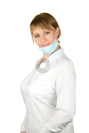 Doctor  stock photo, Beautiful young doctor with mask isolated on white background  by olinchuk