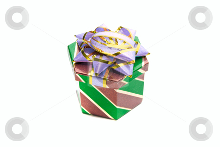 Gift box stock photo, one gift box isolated on a white background by olinchuk