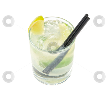 Mojito  fresh  cocktail  stock photo, mojito alcohol fresh cocktail with lemon and lime isolated on a white  by olinchuk