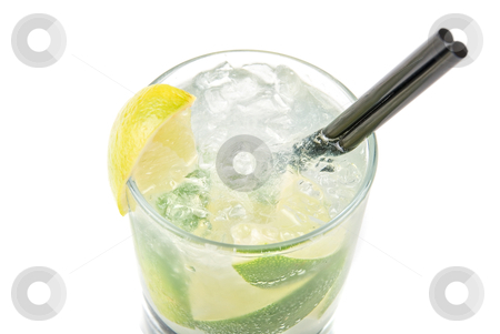 Cocktail   stock photo, mojito alcohol fresh cocktail  closeup on a white  by olinchuk
