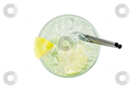 Alcohol fresh cocktail closeup stock photo, alcohol fresh cocktail closeup with lemon and lime isolated on a white  by olinchuk