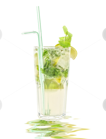 Cocktail  stock photo, mojito alcohol fresh cocktail with lemon and lime isolated on a white  by olinchuk
