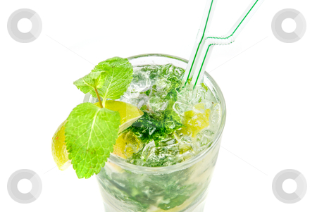 Mojito closeup stock photo, classic mojito alcohol fresh cocktail closeup isolated on a white  by olinchuk