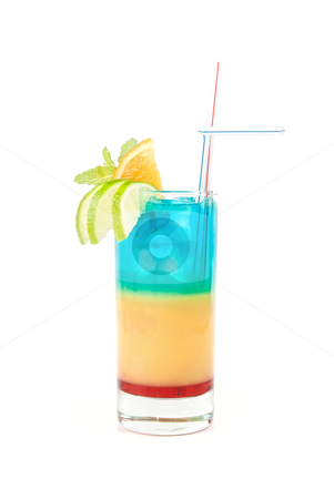 Alcoholic cocktails  stock photo, Alcoholic cocktails with lime, orange and mint decorated  isolated on white background  by olinchuk