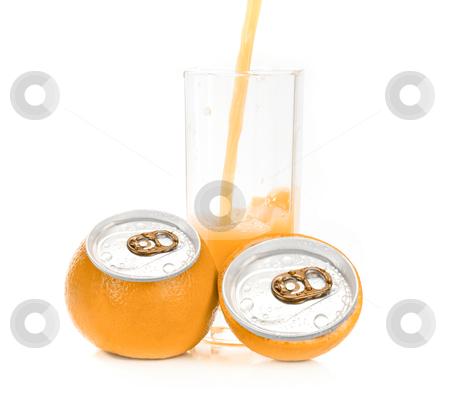 Orange juice aluminum can stock photo, Fresh pouring orange juice with fruits as aluminum can isolated on a white background by olinchuk