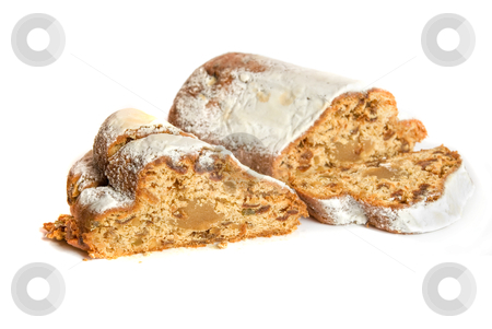 Marchpane cake stock photo, marchpane cake isolated on a white background by olinchuk