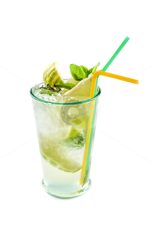 Fresh mojito closeup stock photo, Fresh mojito cocktail top view isolated on a white bacground by olinchuk