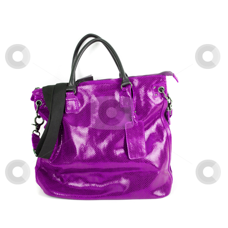 Purple women bag stock photo, purple women bag isolated on white background by olinchuk
