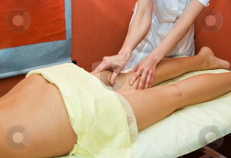 Massage stock photo, Closeup of woman hand with professional massage by olinchuk