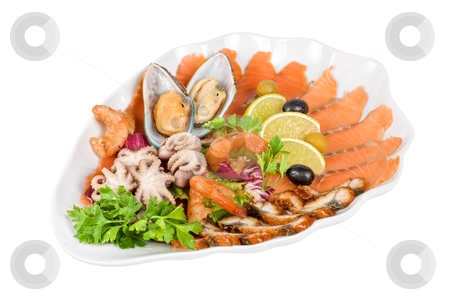 Seafood salad stock photo, appetizer closeup of different seafood and vegetables by olinchuk