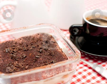 Homemade Tiramisu stock photo, Homemade Tiramisu and Expresso Coffee on Table by JAMDesign