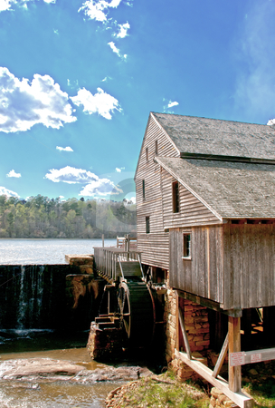 Old Mill stock photo, An old grist mill on a river by Robert Byron