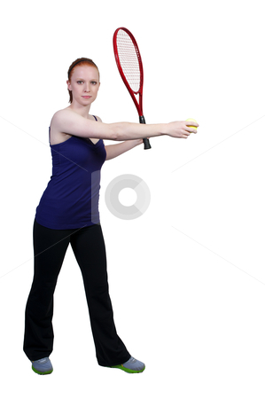 Woman Playing Tennis stock photo, A beautiful woman playing the sports game of tennis by Robert Byron