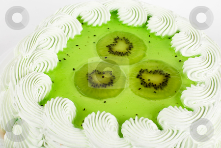 Fruit kiwi ake stock photo, fruit kiwi cake closeup isolated on a white by olinchuk