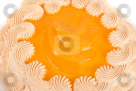 Fruit orange ake stock photo, fruit orange cake closeup isolated on a white by olinchuk