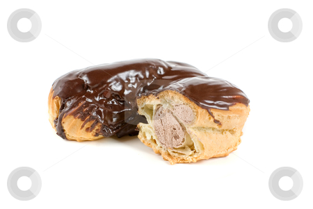 Cream eclairs stock photo, Chocolate Cream eclairs isolated on a white background by olinchuk